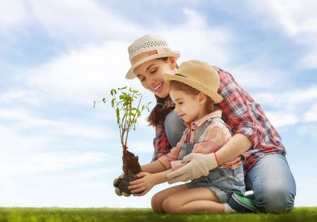 Mom and her child girl plant sapling tree. Spring concept, nature and care. Imagens