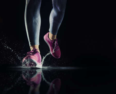 running water: athletes foot close-up. healthy lifestyle and sport concepts. Stock Photo