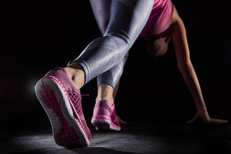 el pie de atleta de primer plano. estilo de vida y deportes conceptos sanos. Foto de archivo