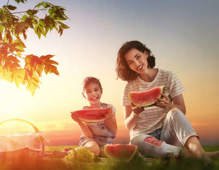 picnicking: Family picnicking together. Young mother and her child daughter girl enjoying a healthy outdoor meal sitting together on green grass in summer park.