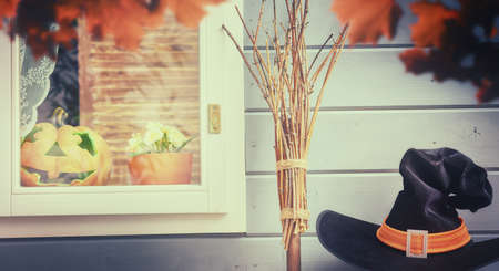 holiday house: Happy halloween! The window of a house decorated for the holiday. Stock Photo