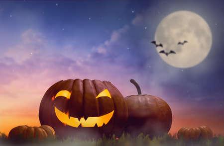 Happy halloween! Head pumpkin on sunset background.