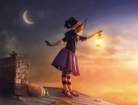 child portrait: Happy Halloween! Cute little witch on the roof. Beautiful young child girl in witch costume outdoors.