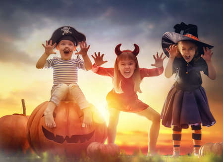 party hat: Happy brother and two sisters on Halloween. Funny kids in carnival costumes outdoors. Cheerful children and pumpkins on sunset background.