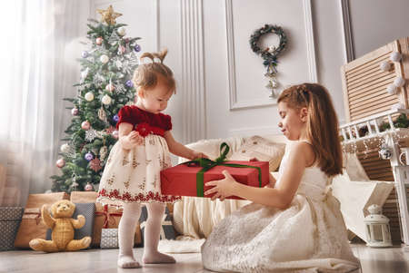 christmas present box: Merry Christmas and Happy Holidays! Two cheerful cute children girls with present. Kids hold a gift box near Christmas tree indoors. Stock Photo