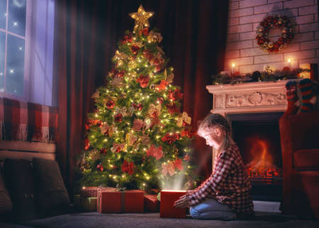 Merry Christmas and Happy Holidays! Cheerful cute little child girl with present. Kid holds a magic gift box near Christmas tree indoors.