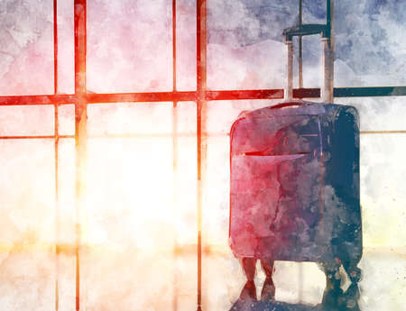 the concept of travel and holiday. suitcase against the window and the sunsets. illustration