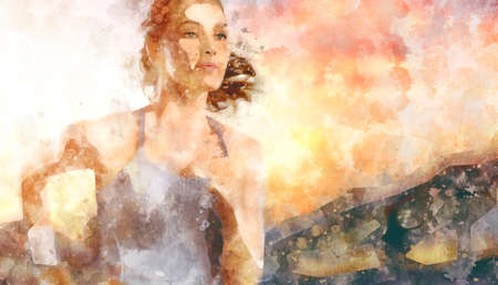 freedom woman: girl in sport on the sunset background. illustration Stock Photo