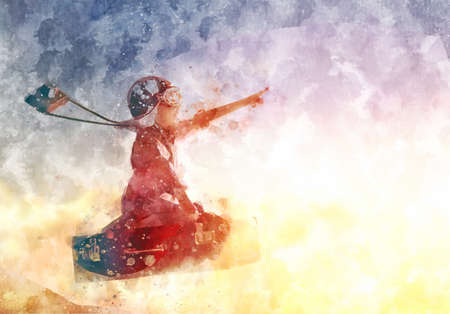 pretend: Dreams of travel! Child flying on a suitcase against the backdrop of a sunset. illustration