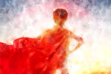 Petite fille joue super-héros. Enfant sur le fond du ciel au coucher du soleil. enfants concept de puissance. illustration