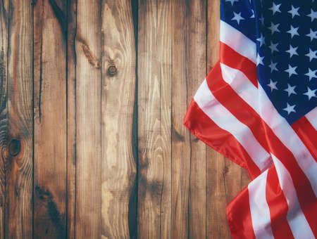 Patriotic holiday. USA are celebrate 4th of July. Close up of American flag.