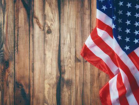 Patriottische vakantie. De VS vieren 4 juli. Close-up van Amerikaanse vlag. Stockfoto