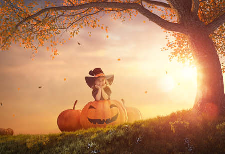 Happy Halloween! Cute little witch with a big pumpkin. Beautiful young child girl in costume outdoors. Stock Photo