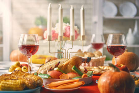 Happy Thanksgiving Day! Autumn feast. Family traditional dinner. Food concept. Celebrate holidays. Banco de Imagens