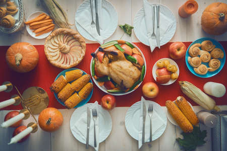 Happy Thanksgiving Day! Autumn feast. Family traditional dinner. Food concept. Celebrate holidays. Stock Photo