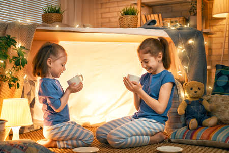 Two cute happy girls play at home. Funny lovely sisters are having fun in children room. Girls play tea-party and drink tea from cups.