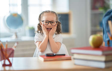 Back to school! Happy cute industrious child is sitting at a desk indoors. Kid is learning in class.