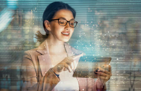Businesswoman using tablet. Business strategy. Abstract icon. Digital marketing.