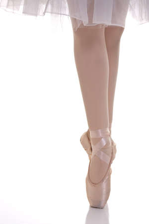 ballet slipper: Ballet on pointe with white background
