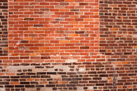 Red brick wall distressed with frame