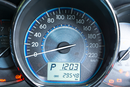 kilometre: Close car dashboard Stock Photo