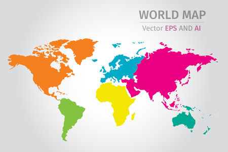 Vector world map using different colors on each continent using vector vector world map using different colors on each continent using nasa map for reference httpsamssaamscollaborationlistml gumiabroncs Images