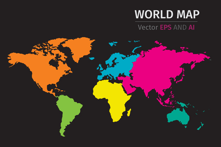Vector World map using different colors.