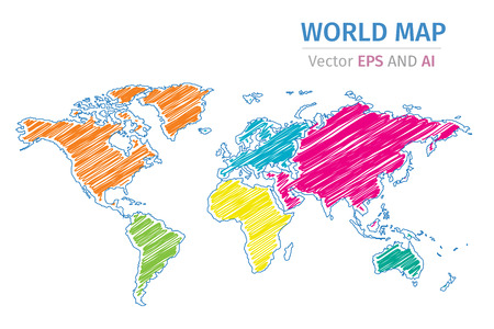 Vector World Map Using Different Colors On Each Continent Using - Html color map