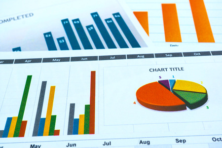 Charts and Graphs paper. Financial, Accounting, Statistics, Analytic research data and Business company meeting concept Stock fotó
