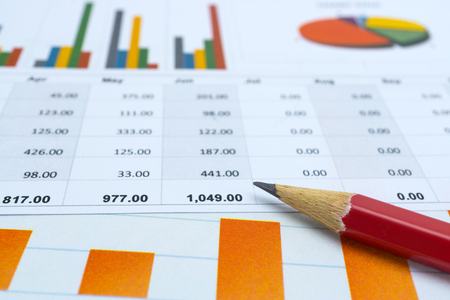 Charts and Graphs paper. Financial, Accounting, Statistics, Analytic research data and Business company meeting concept Imagens
