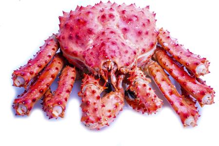 Alaskan crab steam on white background