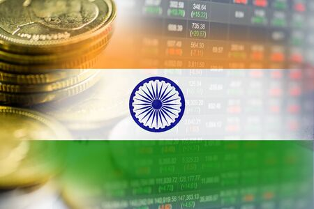 Stock market investment trading financial, coin and India flag or Forex for analyze profit finance business trend data background.