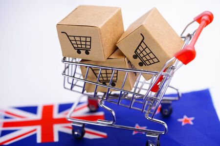 Box with shopping cart logo and New Zealand flag : Import Export Shopping online or eCommerce delivery service store product shipping, trade, supplier concept.