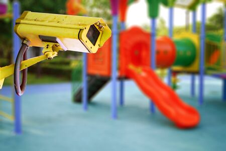 CCTV Closed circuit camera, TV monitoring at kindergarten school playground outdoor for kid children : security system concept.