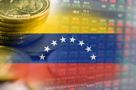 Stock market investment trading financial, coin and Venezuela flag or Forex for analyze profit finance business trend data background. Stock fotó - 129624648