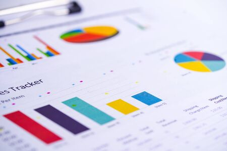 Charts Graphs spreadsheet paper. Financial development, Banking Account, Statistics, Investment Analytic research data economy, Stock exchange trading, Business office company meeting concept. Imagens