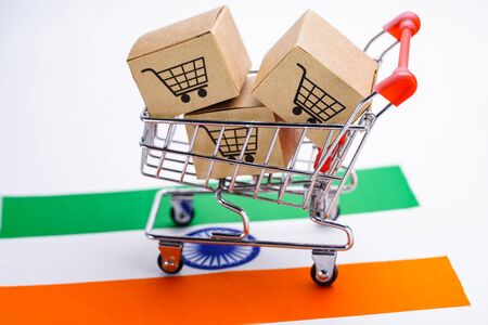 Box with shopping cart logo and India flag : Import Export Shopping online or eCommerce finance delivery service store product shipping, trade, supplier concept.