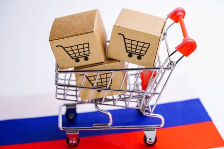 Box with shopping cart logo and Russia flag : Import Export Shopping online or eCommerce finance delivery service store product shipping, trade, supplier concept.