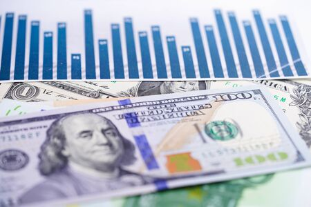 US dollar and euro banknotes money on chart graph spreadsheet paper. Financial development, Banking Account, Statistics, Investment Analytic research data economy, trading, office reporting Business company meeting concept.