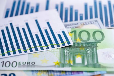 Euro banknotes money on chart graph spreadsheet paper. Financial development, Banking Account, Statistics, Investment Analytic research data economy, trading, office reporting Business company meeting concept. Banco de Imagens