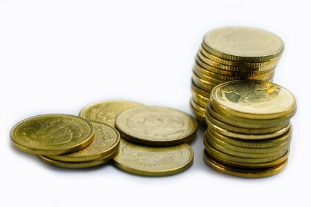 Saving stack coins money on white background. Finance, Account, Statistics, Analytic research data economy, Stock exchange trading and Business company meeting concept