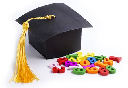 Math Number colorful with graduation gap hat on white background, Education study mathematics learning teach concept.