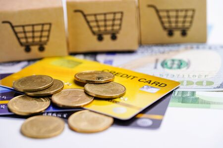 Credit card model and coins with shopping cart box : Financial development, Accounting, Statistics, Investment Analytic research data economy office Business company banking