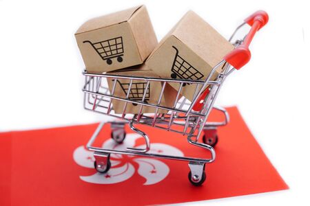 Box with shopping cart logo and Hong Kong flag : Import Export Shopping online or eCommerce finance delivery service store product shipping, trade, supplier concept.