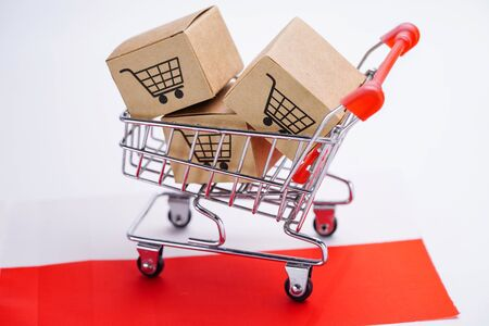 Box with shopping cart logo and Poland flag : Import Export Shopping online or eCommerce finance delivery service store product shipping, trade, supplier concept. Banco de Imagens
