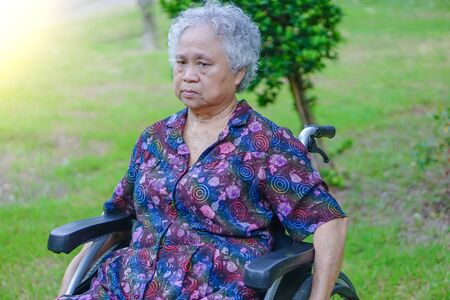 Asian senior or elderly old lady woman patient on wheelchair in park : healthy strong medical concept   Stock Photo