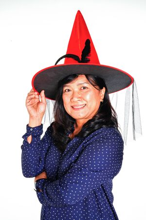 Asian women with Haloween red hat on white background.