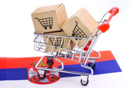 Box with shopping cart logo and Serbia flag : Import Export Shopping online or eCommerce finance delivery service store product shipping, trade, supplier concept.