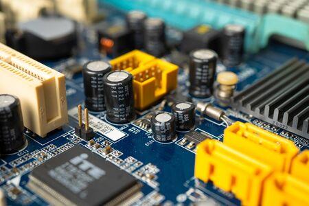 E-waste electronic, computer circuit cpu chip mainboard core processor electronics device : concept of data, hardware, technician and technology. Фото со стока
