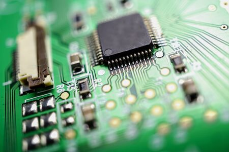 E-waste electronic, computer circuit cpu chip mainboard core processor electronics device : concept of data, hardware, technician and technology.